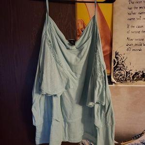 Cold shoulder baby blue shirt